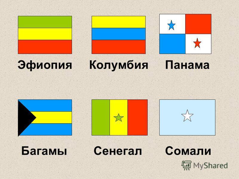 Эфиопия Колумбия Панама Багамы Сенегал Сомали