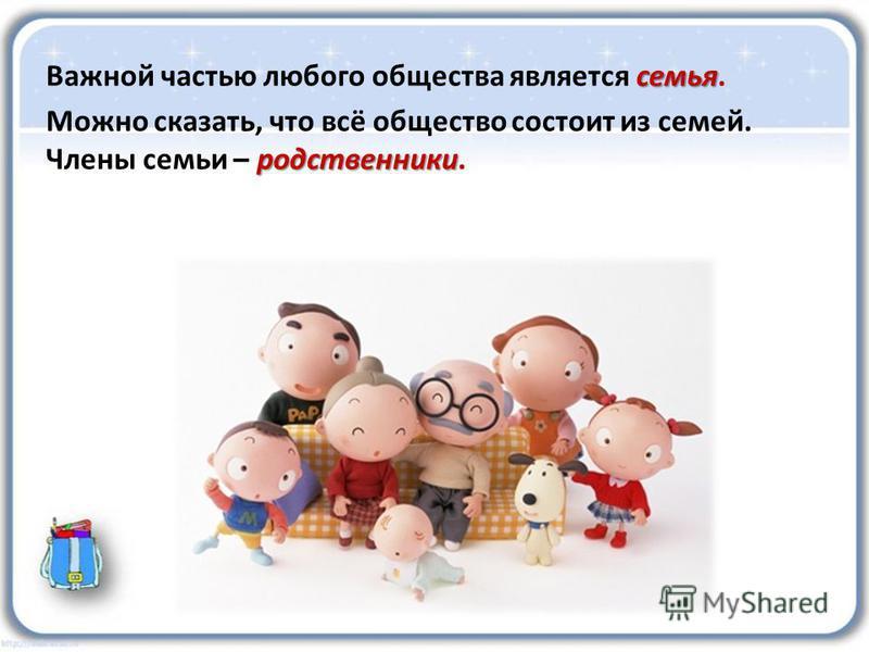 семья Важной частью любого общества является семья. родственники Можно сказать, что всё общество состоит из семей. Члены семьи – родственники.