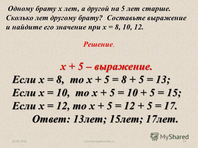 22.05.2015www.konspekturoka.ru14 Одному брату х лет, а другой на 5 лет старше. Сколько лет другому брату? Составьте выражение и найдите его значение при х = 8, 10, 12. Решение. х + 5 – выражение. Если х = 8, то х + 5 = 8 + 5 = 13; Если х = 10, то х +