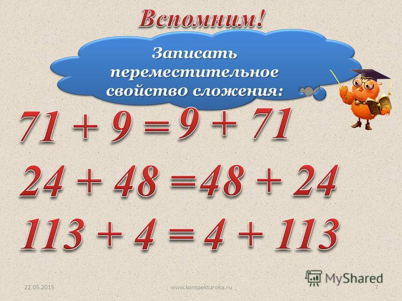 Записать переместительное свойств 0 сложения: 22.05.20157www.konspekturoka.ru