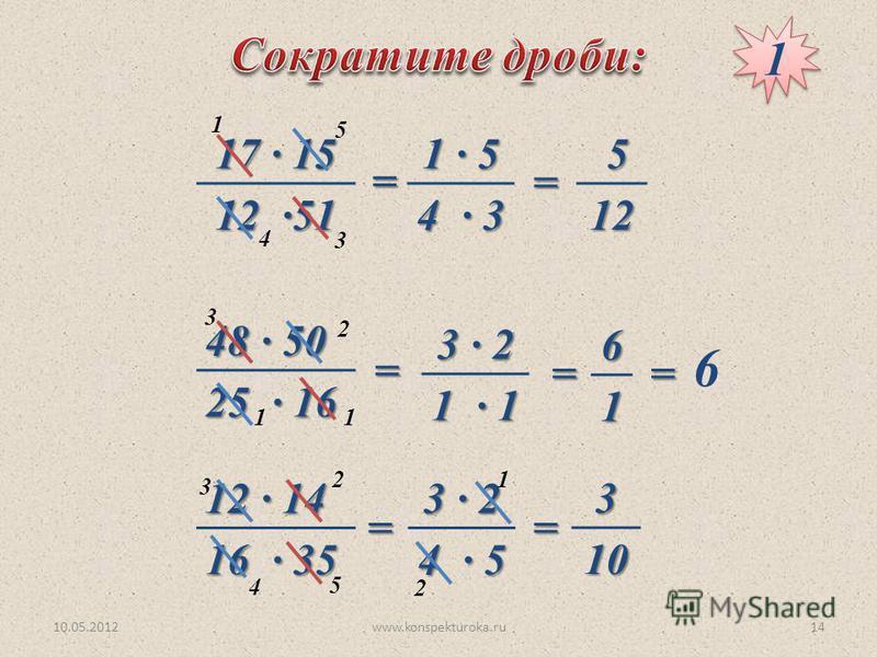 10.05.2012www.konspekturoka.ru14 17 · 15 12 ·51 48 · 50 25 · 16 12 · 14 16 · 35 1 3 4 5 1 · 5 4 · 3 = = 512 1 3 1 2 = 3 · 2 1 · 1 =61 = 6 5 3 4 2= 3 · 2 4 · 5 2 1=310 1 1