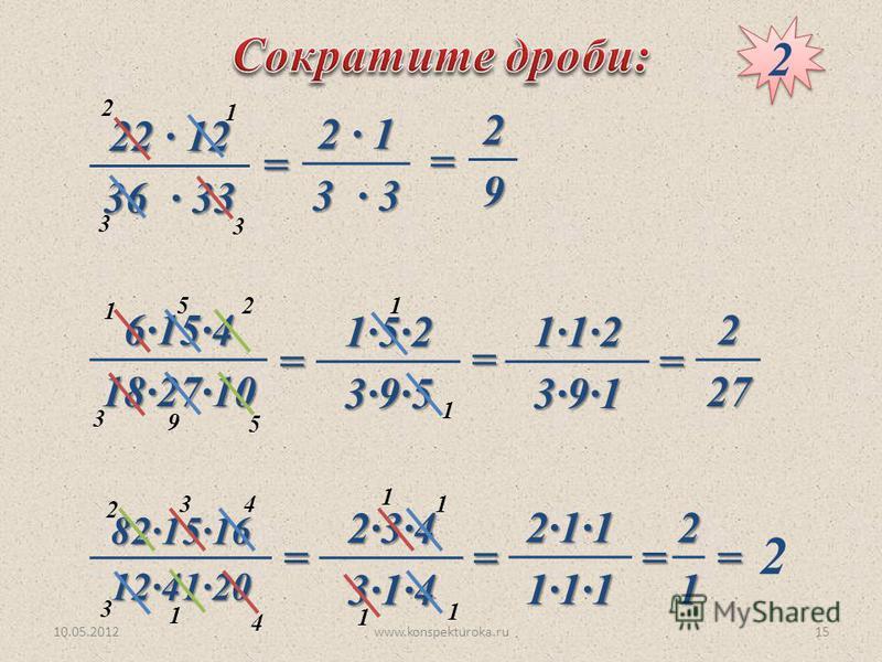 10.05.2012www.konspekturoka.ru15 22 · 12 36 · 33 6·15·4 18·27·10 82·15·16 12·41·20 2 2 2 3 3 1 = 2 · 1 3 · 3 =29 5 52 1 3 9 = 1·5·2 3·9·5 1 1= 1·1·2 3·9·1 =227 4 34 2 3 1 = 2·3·4 3·1·4 = 1 1 1 1 2·1·1 1·1·1 =21 = 2
