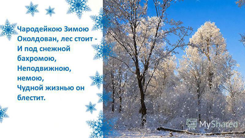 Чародейкою Зимою Околдован, лес стоит - И под снежной бахромою, Неподвижною, немою, Чудной жизнью он блестит.