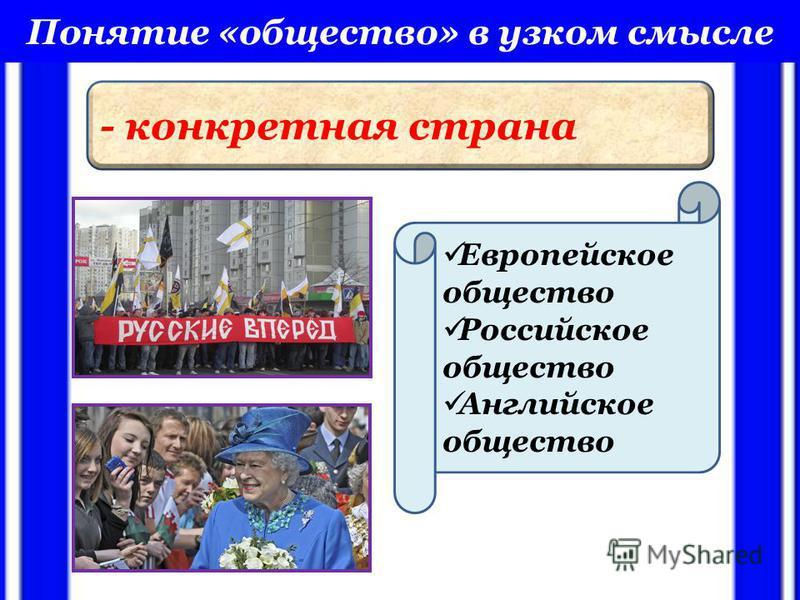 Понятие «общество» в узком смысле - конкретная страна Европейское общество Российское общество Английское общество