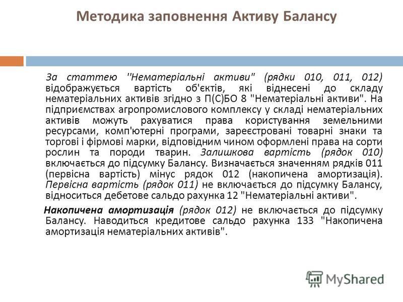 Методика заповнення Активу Балансу За статтею '' Нематеріальні активи