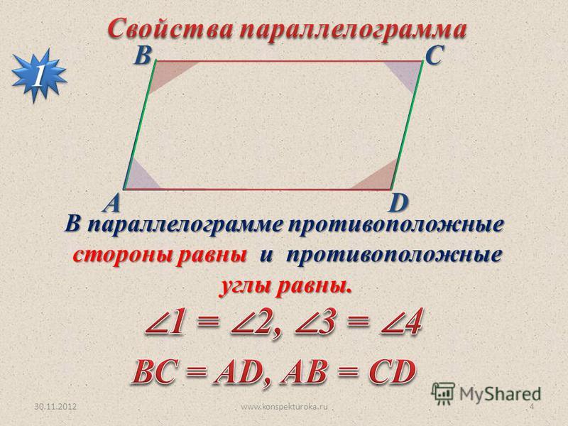 30.11.2012www.konspekturoka.ru4 АВСD 11 В параллелограмме противоположные стороны равны и противоположные стороны равны и противоположные углы равны. углы равны.