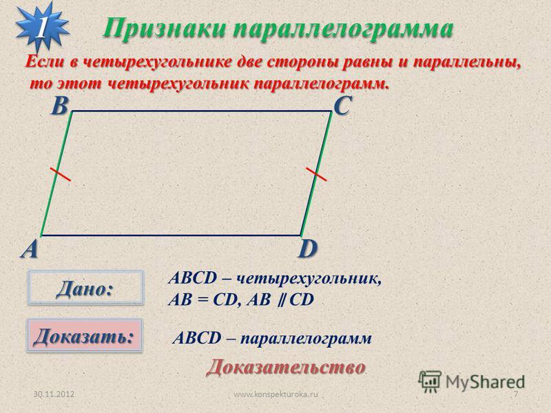 30.11.2012www.konspekturoka.ru7 АВСD Признаки параллелограмма 11 Если в четырехугольнике две стороны равны и параллельны, то этот четырехугольник параллелограмм. то этот четырехугольник параллелограмм. Дано:Дано: Доказать:Доказать: АВСD – четырехугол