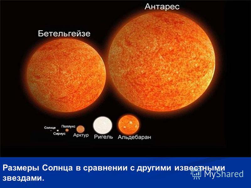 Размеры Солнца в сравнении с другими известными звездами.