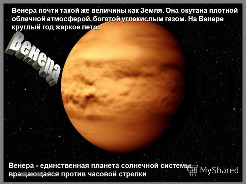 Венера почти такой же величины как Земля. Она окутана плотной облачной атмосферой, богатой углекислым газом. На Венере круглый год жаркое лето.