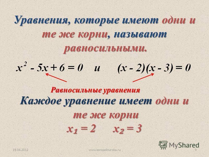 19.04.2012www.konspekturoka.ru9 Равносильные уравнения Каждое уравнение имеет одни и те же корни те же корни х = 2 х = 3 х = 2 х = 3 Уравнения, которые имеют одни и те же корни, называют те же корни, называют равносильными. равносильными.