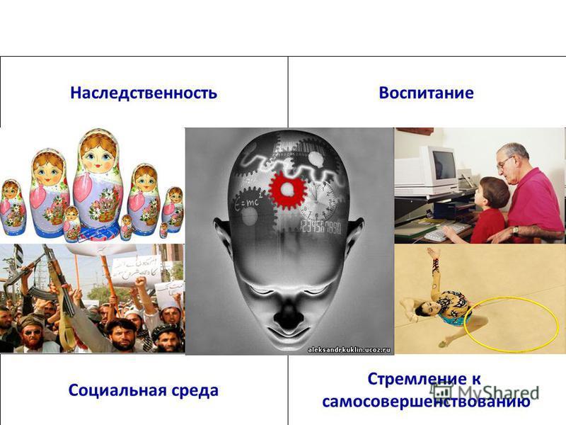 Факторы влияющие на формирование личности человека Наследственность Стремление к самосовершенствованию Воспитание Социальная среда