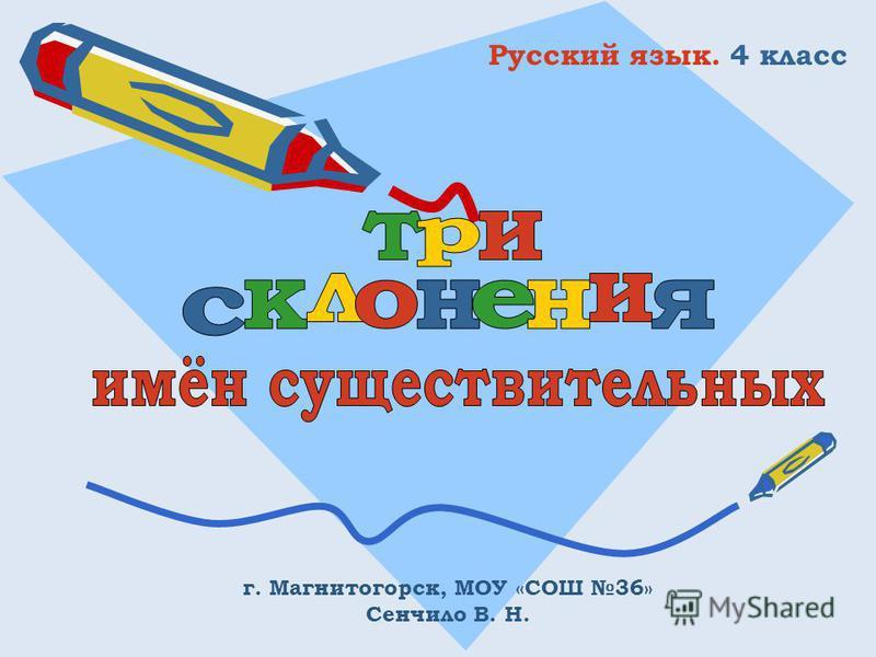 Русский язык. 4 класс г. Магнитогорск, МОУ «СОШ 36» Сенчило В. Н.