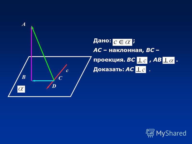 А В с D С Дано: ; АС – наклонная, ВС – проекция. ВС, АВ. Доказать: АС.