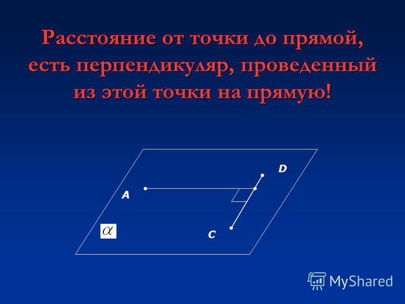 Расстояние от точки до прямой, есть перпендикуляр, проведенный из этой точки на прямую! А D C