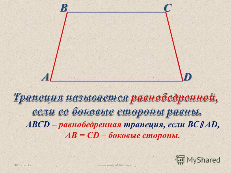 04.12.2012www.konspekturoka.ru3 АВСD АВСD – равнобедренная трапеция, если ВС AD, АВ = СD – боковые стороны.