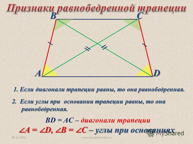 04.12.2012www.konspekturoka.ru7 АВСD ВD = AC – диагонали трапеции А = D, В = С – углы при основаниях А = D, В = С – углы при основаниях 2. Если углы при основании трапеции равны, то она равнобедренная. 1. Если диагонали трапеции равны, то она равнобе