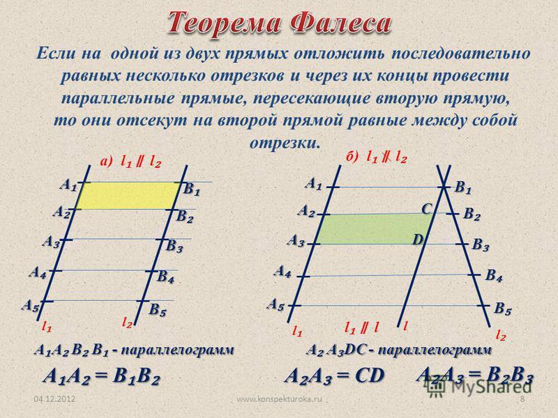 04.12.2012www.konspekturoka.ru8 Если на одной из двух прямых отложить последовательно равных несколько отрезков и через их концы провести параллельные прямые, пересекающие вторую прямую, то они отсекут на второй прямой равные между собой отрезки. а)