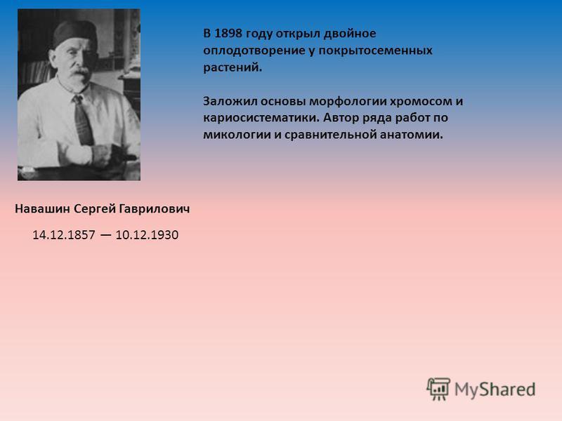 Навашин Сергей Гаврилович В 1898 году открыл двойное оплодотворение у покрытосеменных растений. Заложил основы морфологии хромосом и кариосистематики. Автор ряда работ по микологии и сравнительной анатомии. 14.12.1857 10.12.1930