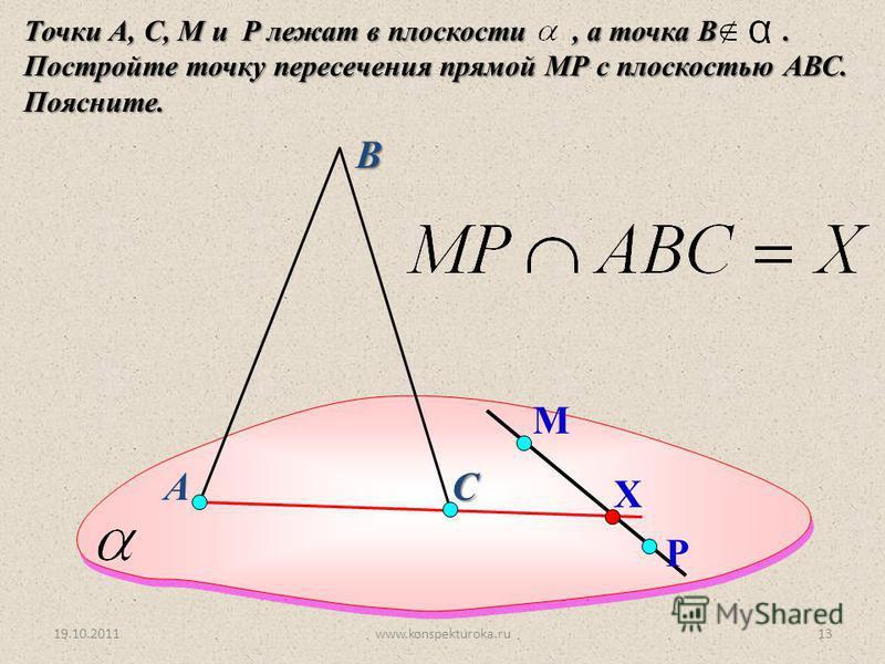 А Точки А, С, M и P лежат в плоскости, а точка В. Постройте точку пересечения прямой МР с плоскостью АВС. Поясните. В С М Р Х 19.10.201113www.konspekturoka.ru