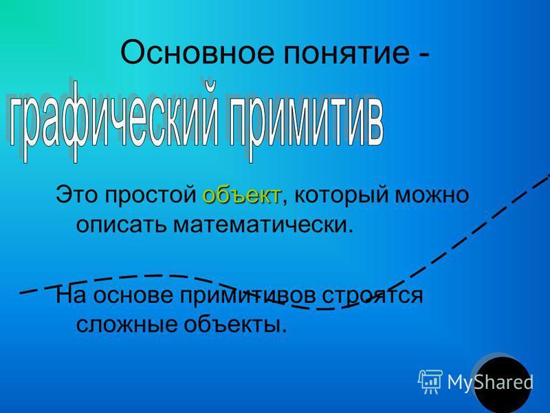 Основное понятие - объект Это простой объект, который можно описать математически. На основе примитивов строятся сложные объекты.
