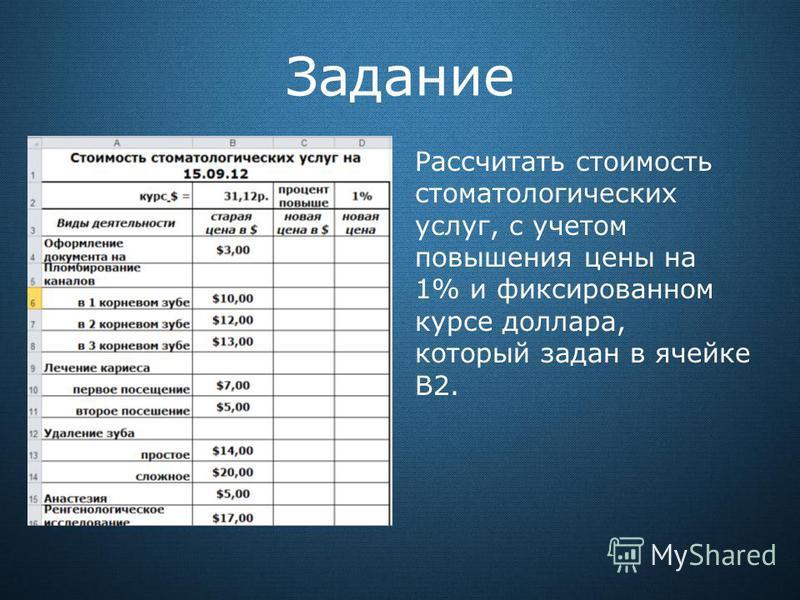 Задание Рассчитать стоимость стоматологических услуг, с учетом повышения цены на 1% и фиксированном курсе доллара, который задан в ячейке В2.
