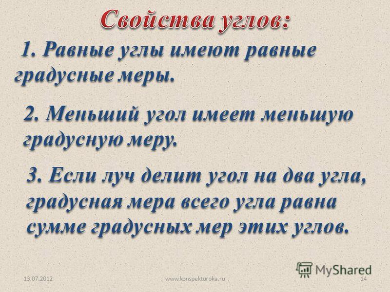 13.07.2012www.konspekturoka.ru14 1. Равные углы имеют равные градусные меры. 1. Равные углы имеют равные градусные меры. 2. Меньший угол имеет меньшую 2. Меньший угол имеет меньшую градусную меру. градусную меру. 3. Если луч делит угол на два угла, 3