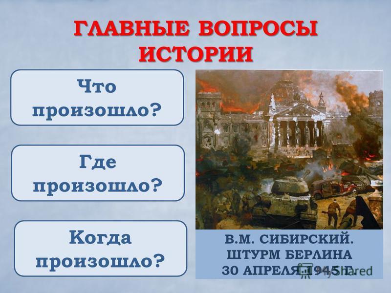ГЛАВНЫЕ ВОПРОСЫ ИСТОРИИ Что произошло? Где произошло? Когда произошло? В.М. СИБИРСКИЙ. ШТУРМ БЕРЛИНА 30 АПРЕЛЯ 1945 Г.