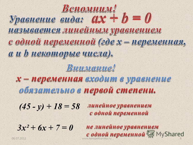 06.07.2012www.konspekturoka.ru6 (45 - у) + 18 = 58 3 х² + 6 х + 7 = 0