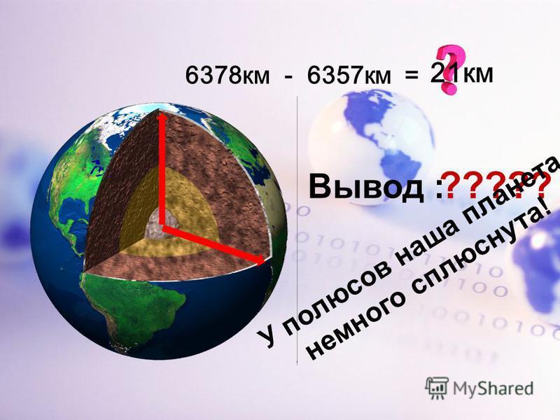 - 6357 км =6378 км 21 км Вывод : ????? У полюсов наша планета немного сплюснута!