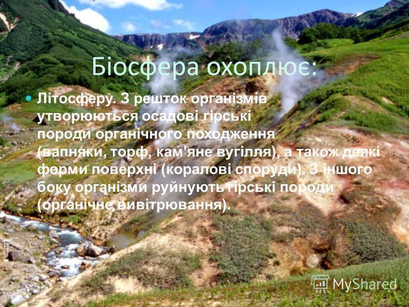 Біосфера охоплює: Літосферу. З решток організмів утворюються осадові гірські породи органічного походження (вапняки, торф, кам'яне вугілля), а також деякі форми поверхні (коралові споруди). З іншого боку організми руйнують гірські породи (органічне в
