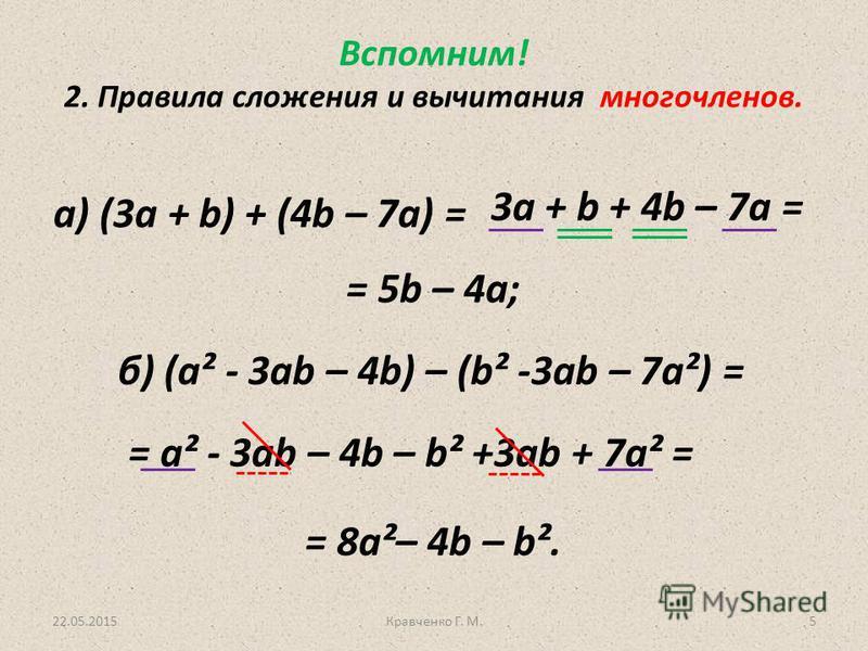 22.05.2015Кравченко Г. М.5 Вспомним! 2. Правила сложения и вычитания многочленов. а) (3 а + b) + (4b – 7a) = б) (a² - 3ab – 4b) – (b² -3ab – 7a²) = 3 а + b + 4b – 7a = = 5b – 4a; = a² - 3ab – 4b – b² +3ab + 7a² = = 8a²– 4b – b².