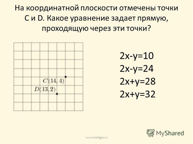 На координатной плоскости отмечены точки C и D. Какое уравнение задает прямую, проходящую через эти точки? 2x-y=10 2x-y=24 2x+y=28 2x+y=32 www.mathgia.ru