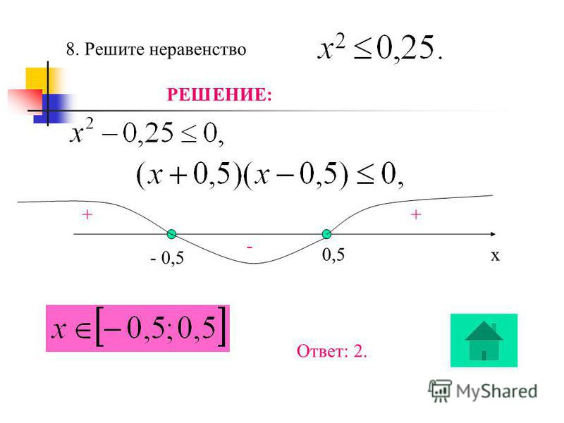 7. Найдите наибольший корень уравнения РЕШЕНИЕ: a + b + c = 2 + 3 – 5 = 0, значит х 1 = 1, х 2 = - 5 : 2 = - 2,5. Наибольший корень уравнения х = 1. Ответ: 1.
