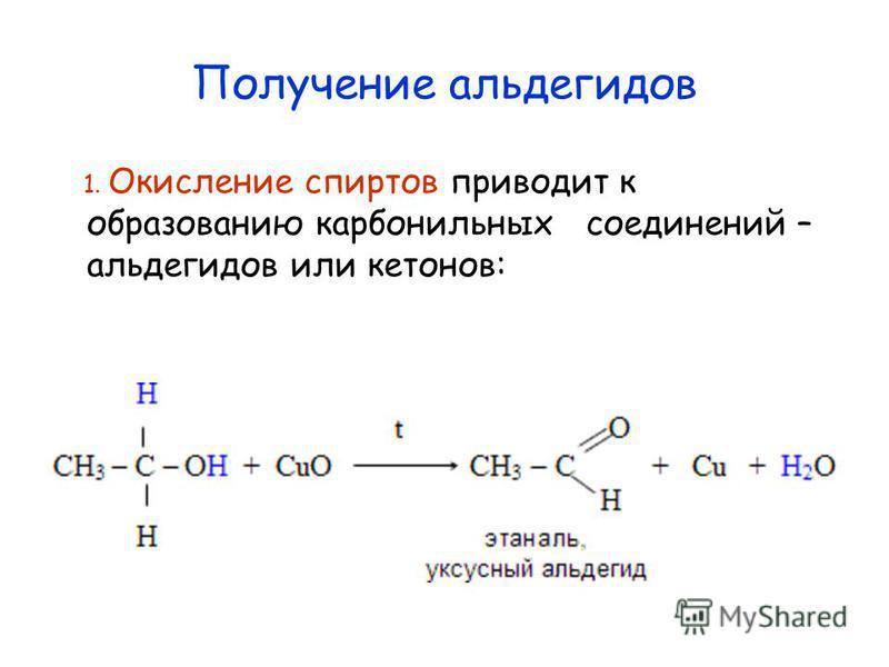 Получение альдегидов 1. Окисление спиртов приводит к образованию карбонильных соединений – альдегидов или кетонов: