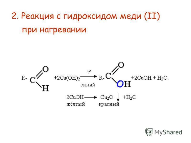 2. Реакция с гидроксидом меди (II) при нагревании