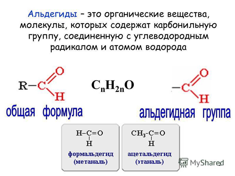 2 Альдегиды – это органические вещества, молекулы, которых содержат карбонильную группу, соединенную с углеводородным радикалом и атомом водорода C n H 2n O
