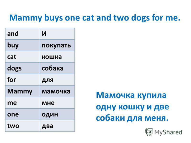 Mammy buys one cat and two dogs for me. andИ buyпокупать catкошка dogsсобака forдля Mammyмамочка meмне oneодин twoдва Мамочка купила одну кошку и две собаки для меня.