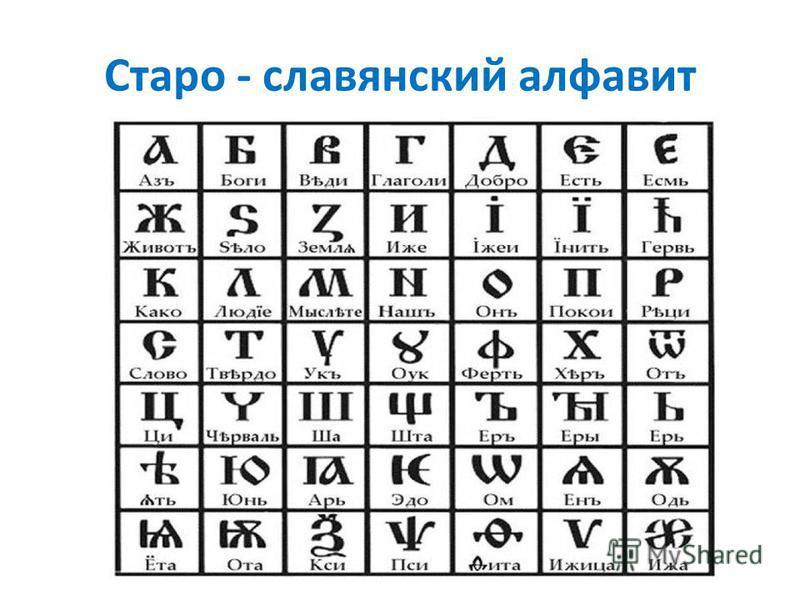 Старо - славянский алфавит