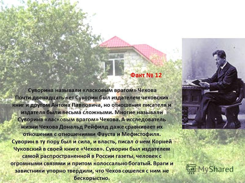 Факт 12 Суворина называли «ласковым врагом» Чехова Почти двенадцать лет Суворин был издателем чеховских книг и другом Антона Павловича, но отношения писателя и издателя были весьма сложными. Многие называли Суворина «ласковым врагом» Чехова. А исслед