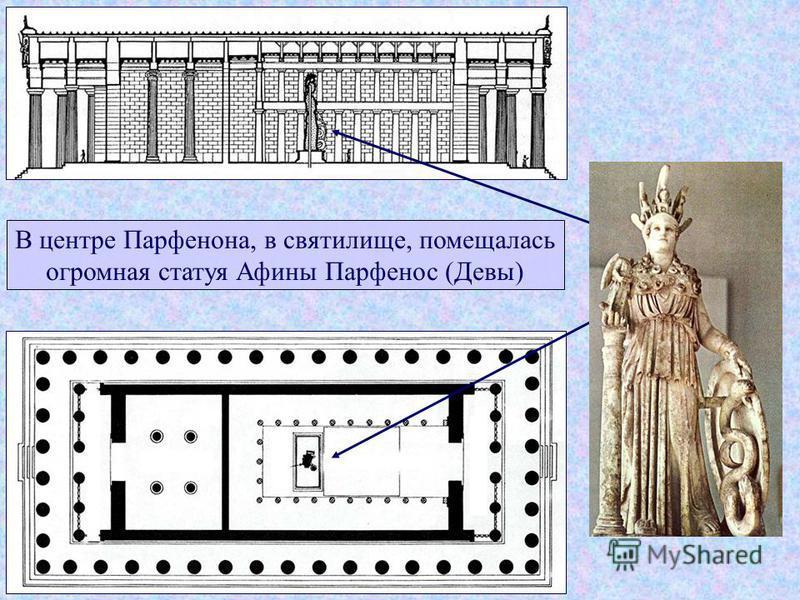 В центре Парфенона, в святилище, помещалась огромная статуя Афины Парфенос (Девы)
