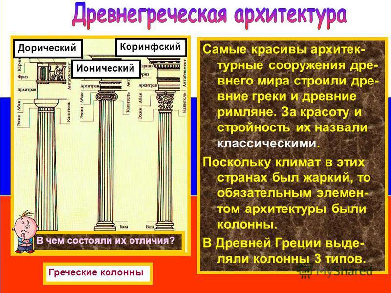 Самые красивы архитектурные сооружения древнего мира строили древние греки и древние римляне. За красоту и стройность их назвали классическими. Поскольку климат в этих странах был жаркий, то обязательным элементом архитектуры были колонны. В Древней