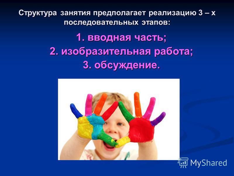 Структура занятия предполагает реализацию 3 – х последовательных этапов: 1. вводная часть; 2. изобразительная работа; 3. обсуждение.