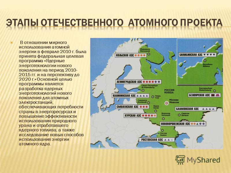В отношении мирного использования атомной энергии в феврале 2010 г. была принята федеральная целевая программа «Ядерные энерготехнологии нового поколения на период 2010- 2015 гг. и на перспективу до 2020 г.» Основной целью программы является разработ