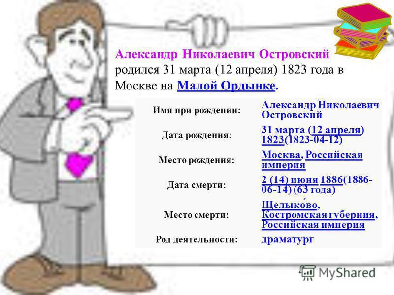 Александр Николаевич Островский родился 31 марта (12 апреля) 1823 года в Москве на Малой Ордынке.Малой Ордынке Имя при рождении: Александр Николаевич Островский Дата рождения: 31 марта (12 апреля) 1823(1823-04-12)12 апреля 1823 Место рождения: Москва