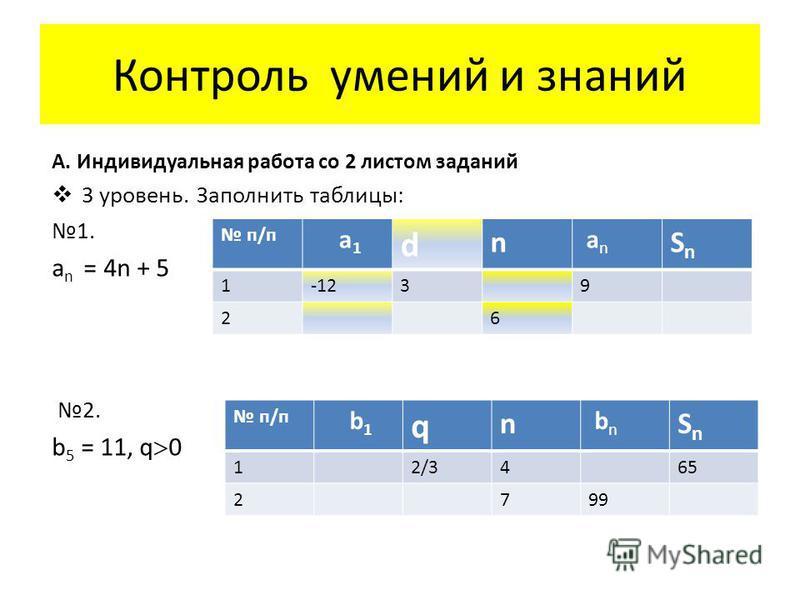 Контроль умений и знаний А. Индивидуальная работа со 2 листом заданий 3 уровень. Заполнить таблицы: 1. a n = 4n + 5 2. b 5 = 11, q 0 п/п a1 a1 d n an an SnSn 1-1239 26 п/п b1 b1 q n bn bn SnSn 12/3465 2799