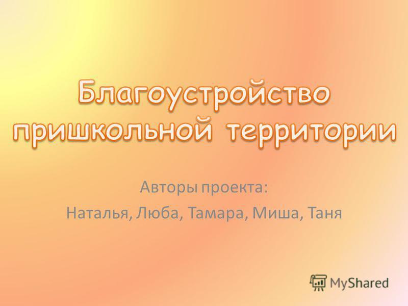 Авторы проекта: Наталья, Люба, Тамара, Миша, Таня