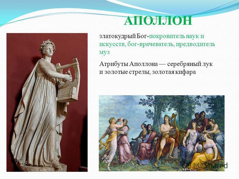 АПОЛЛОН златокудрый Бог-покровитель наук и искусств, бог-врачеватель, предводитель муз Атрибуты Аполлона серебряный лук и золотые стрелы, золотая кифара