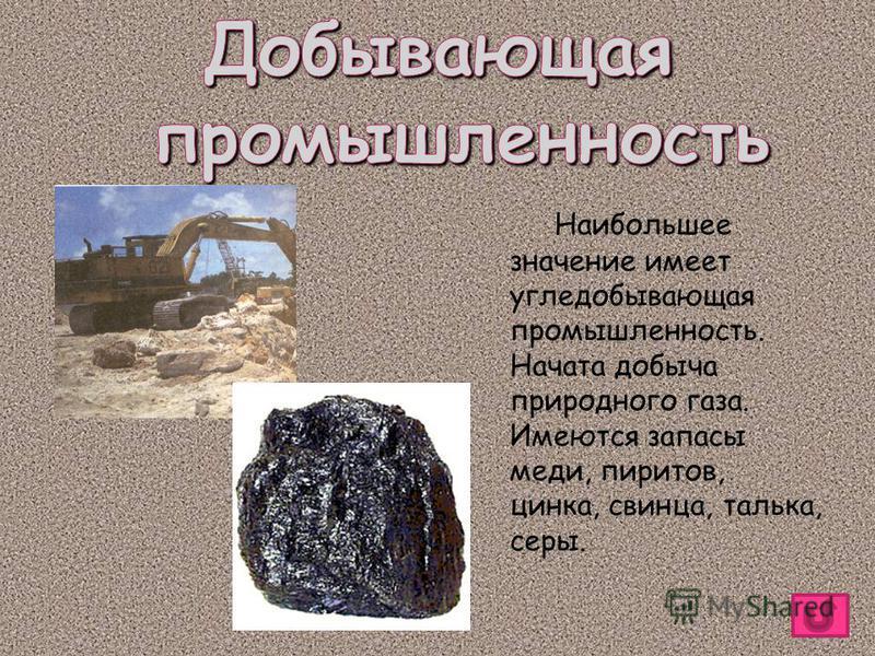 Наибольшее значение имеет угледобывающая промышленность. Начата добыча природного газа. Имеются запасы меди, пиритов, цинка, свинца, талька, серы.