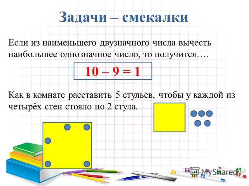 Задачи – смекалки Если из наименьшего двузначного числа вычесть наибольшее однозначное число, то получится…. 10 – 9 = 1 Как в комнате расставить 5 стульев, чтобы у каждой из четырёх стен стояло по 2 стула.
