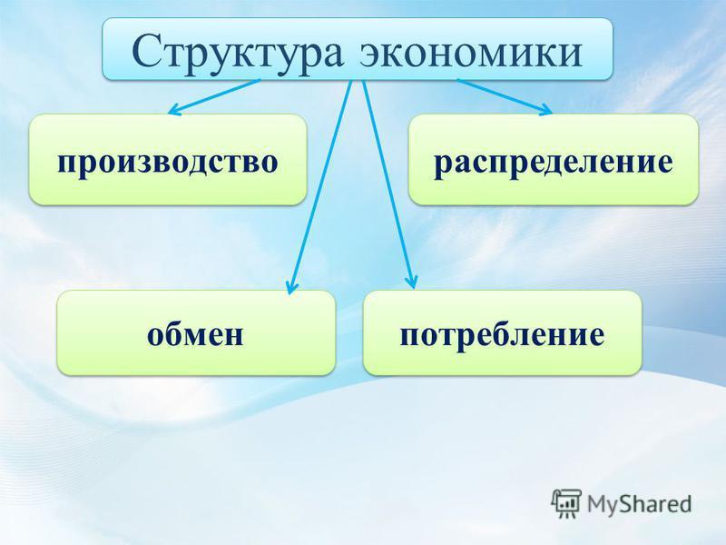 Структура экономики распределение производство обмен потребление
